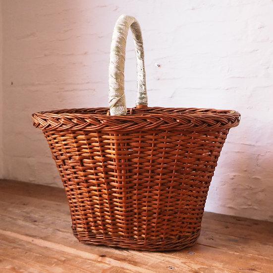 Green Satin Handle Woven Wicker Cane Bag Shopping Basket