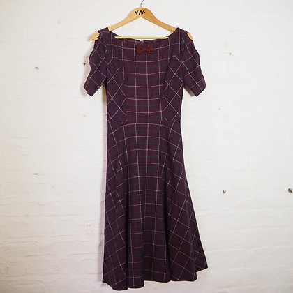 Size S Purple Plaid Reproduction Vintage Swing Dress with Pockets