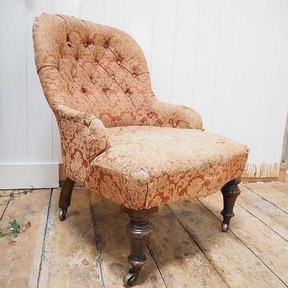 Late 19th Century Tufted Chair on Wheels