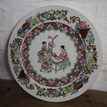 Japanese Hand Painted Enamel Plate