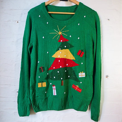 Oversized Light Up Green Christmas Tree Jumper