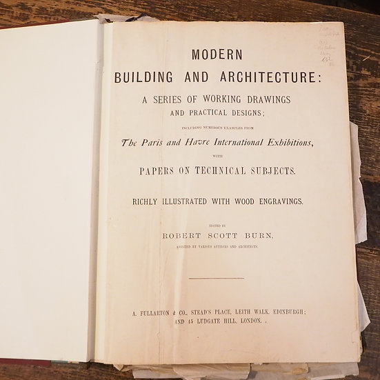 Victorian Antiquarian Book on Architecture by Robert Scott Burn
