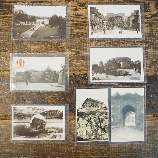x7 Vintage Nottingham Castle Old Photo Postcards