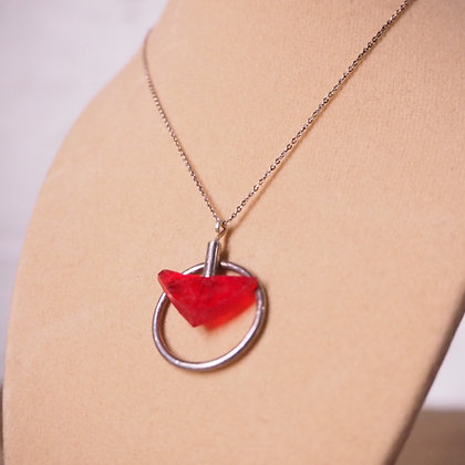 Handmade Ecosilver Reclaimed Found Red Plastic Necklace