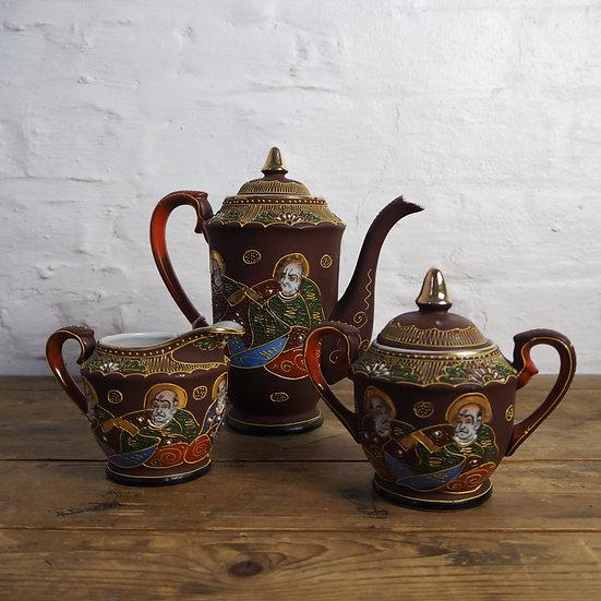 Japanese Satsumaware Tea Service Set. Teapot, Sugar Bowl and Creamer