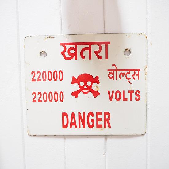 East Indian Danger High Voltage Enamel Sign