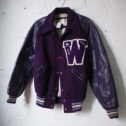 1970s American Varsity Jacket in Purple Wool & Leather