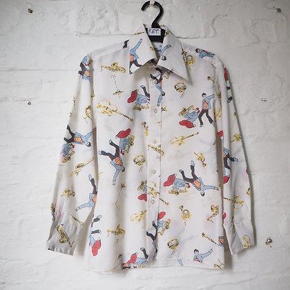 1970's Mens Dagger Collar White Shirt with Musician Print