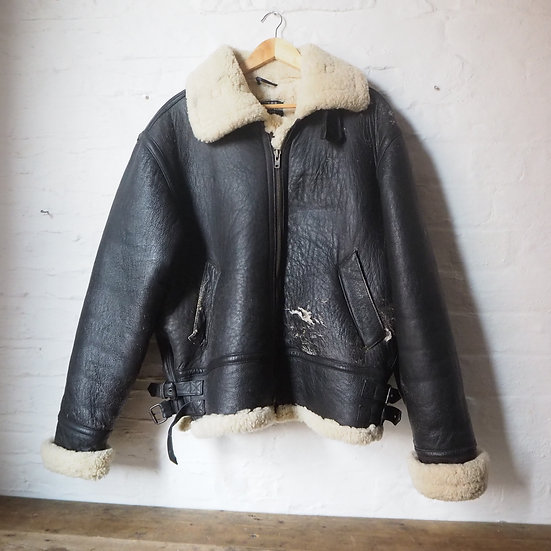 Sheepskin Leather Aviator Jacket US Army Style