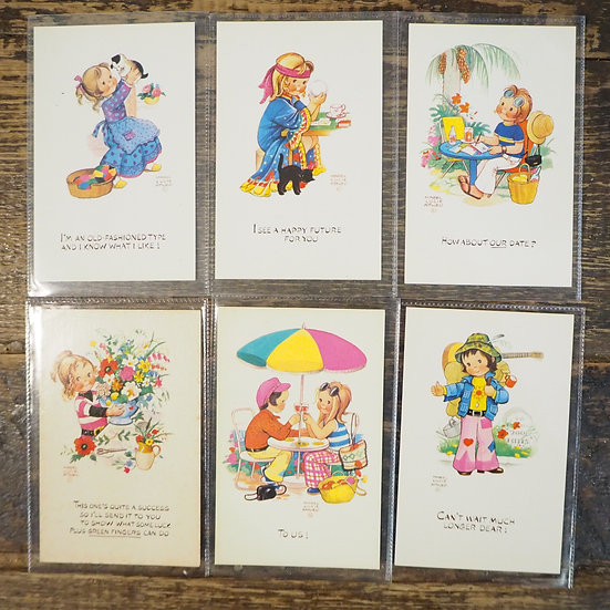 x6 Cute Retro 60s/70s Postcards Notecards