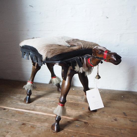 Fur & Leather Topped Camel Saddle Stool