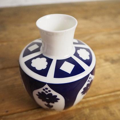 Rare Royal Crown Derby Navy Blue & White Squat Vase