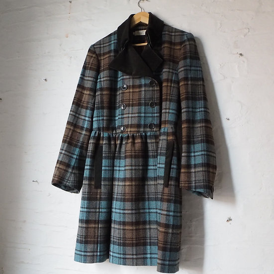 TOAST 70's Style Blue and Brown Real Wool Coat size 14