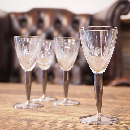 Set of 4 Crystal Sherry Glasses with Silver Metal Stem