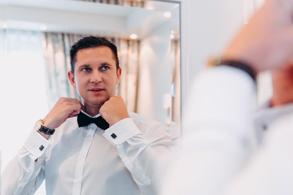 Fliege Manschettenknöpfe Getting Ready Fotograf Portrait