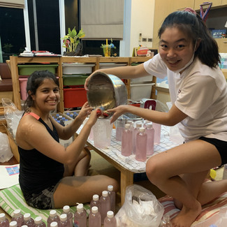 Making hand sanitizers with communications & concepts partner: Firuza Wadia