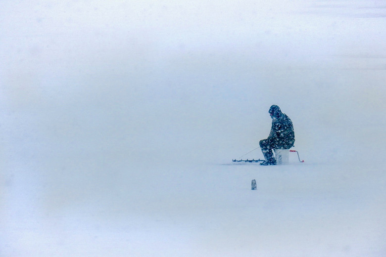 Lone Ice fisherman at Mallets Bay