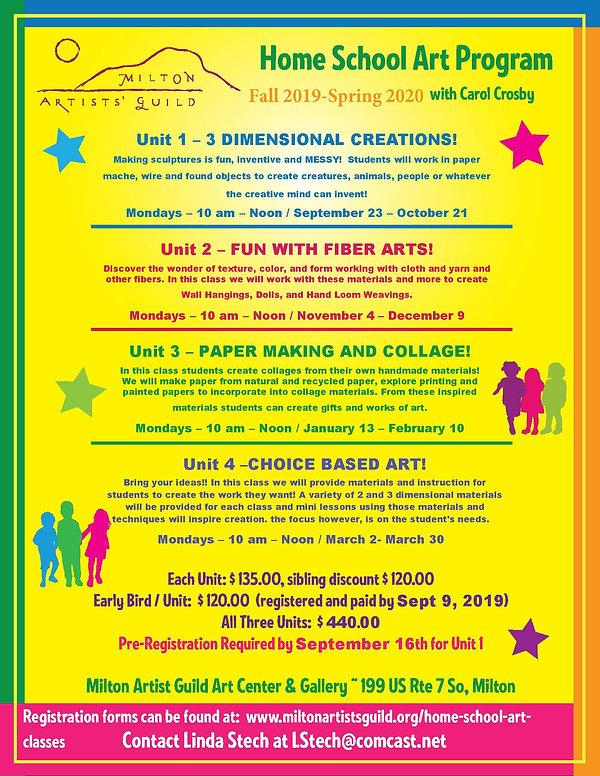 Milton Artist Guild Home School Classes.