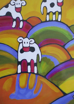 Cow in Colorful Fields