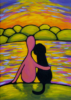 Pink Person and Black Dog