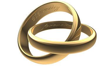 Gold wedding band engraving