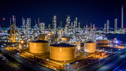 Aerial view oil refinery, refinery plant