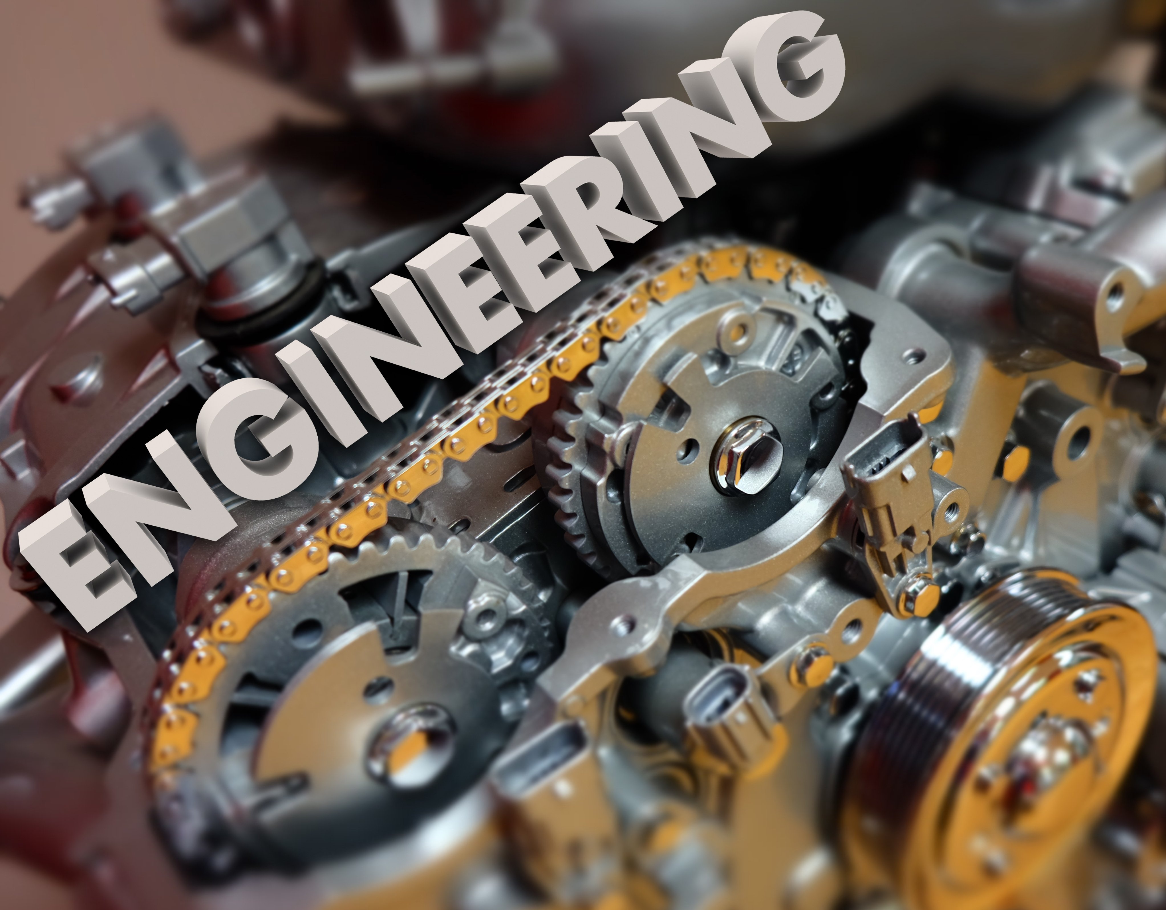 Engineering word in 3d white letters on
