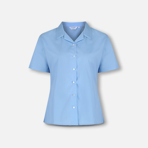 St Catherine's blue blouse, short sleeve