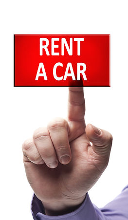 Rent a car button pressed by male hand.j