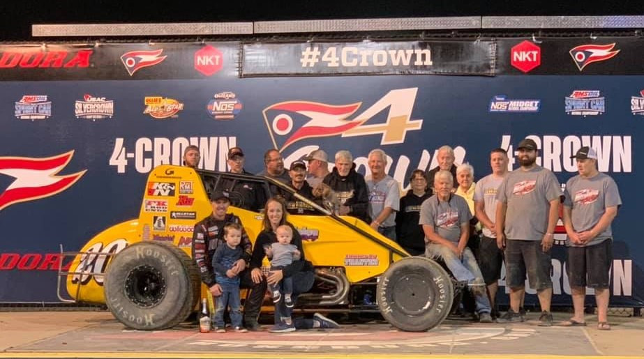 The Nolen Racing team celebrates Swanson's fifth USAC Silver Crown drivers' championship.