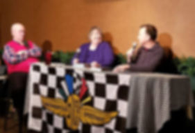 From left to right, host Don Kay of the Autosportradio.com show interviews authors Linda Mansfield and Dave Argabright.