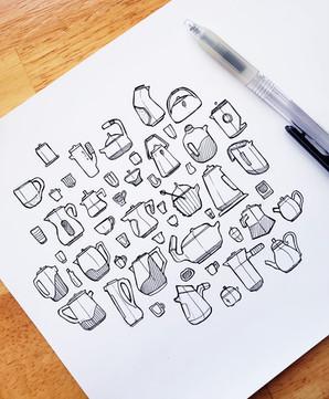 Tea Set Thumbnail Sketches