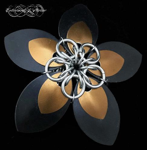 Barrette Fleur Noire et Bronze