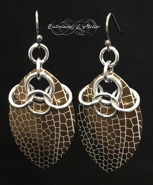 Bloucles d'oreilles feuilles bronzes