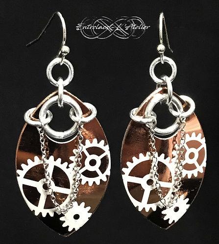 Boucles d'oreilles miroir steampunk