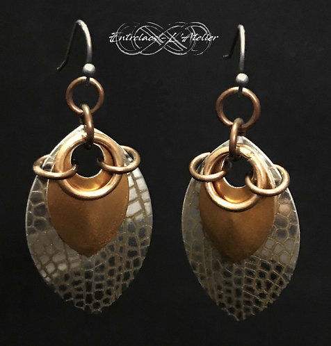 Boucles d'oreilles Écailles et cuivre