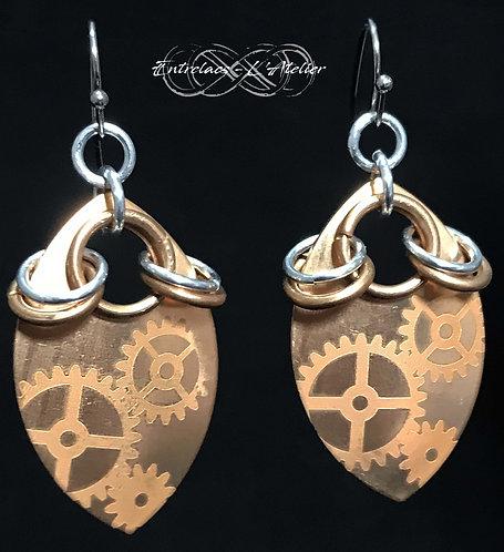 Boucles d'oreilles steampunk cuivre