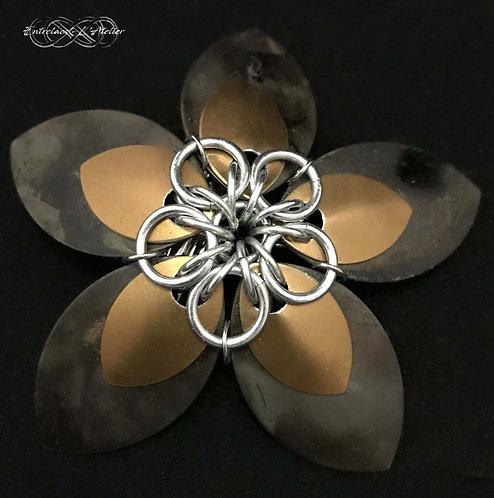Barette Fleur acier brûlé et bronze