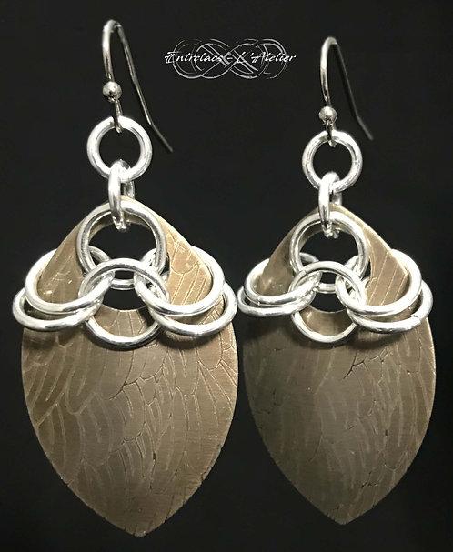Boucles d'oreilles plumes steampunk