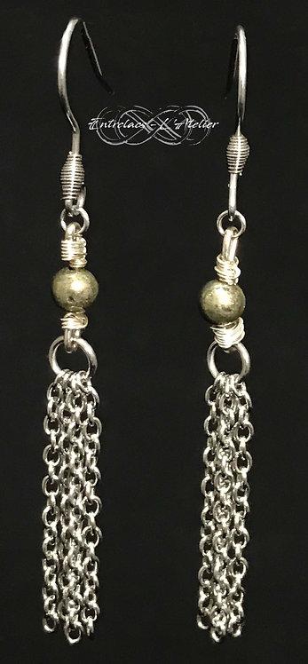Boucles d'oreilles wisp Pyrite