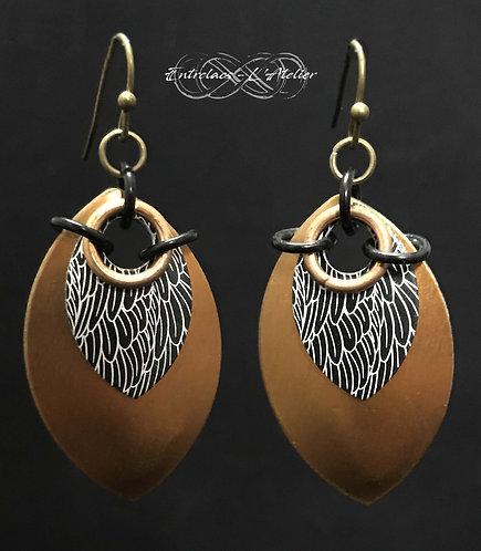 Boucles d'oreilles bronzes et plumes