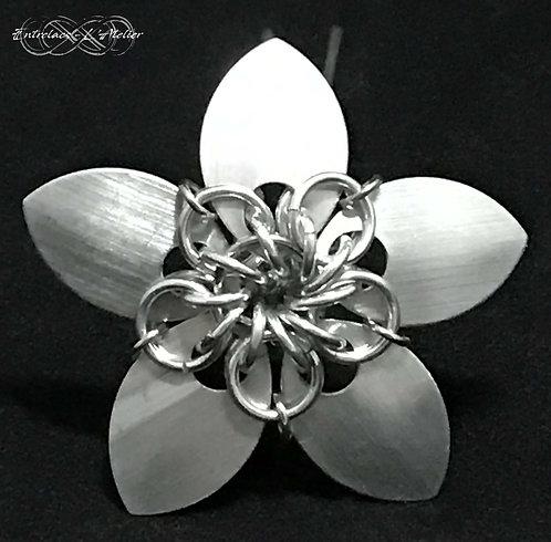 Pique à cheveux Fleur argent