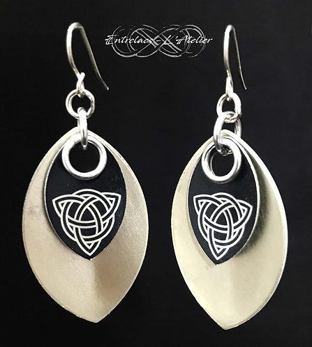Boucles d'oreilles écailles celtiques