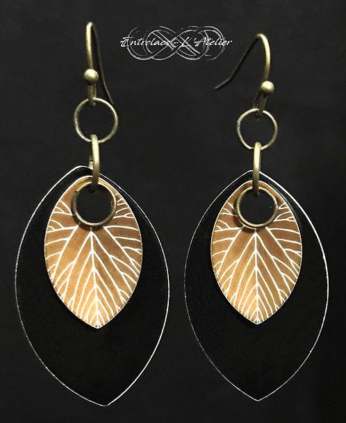 Boucles d'oreilles feuilles de bronze