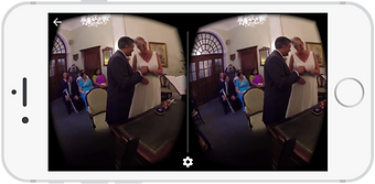 360 degree video of a wedding ceremony shown on an IPhone