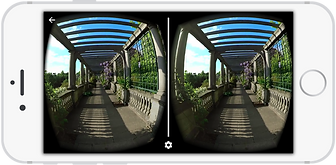 360 degree video of Hampstead hill garden & pergola shown on an IPhone