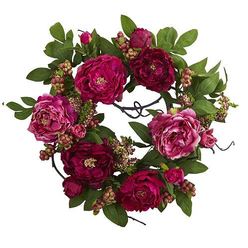 Peony La Rouge Silk Floral Wreath