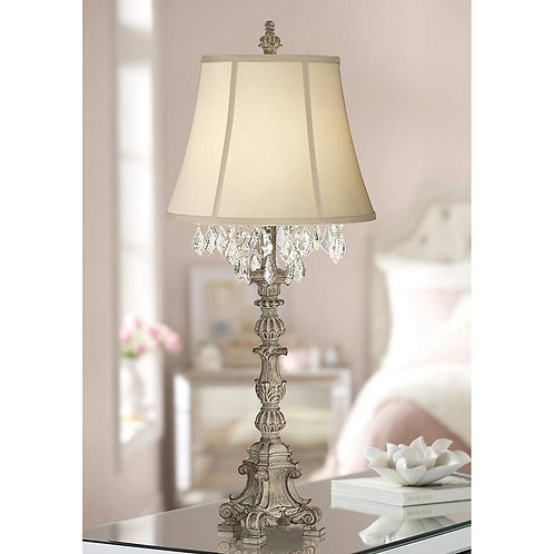French Ivy Crystal Candlestick Table Lamp