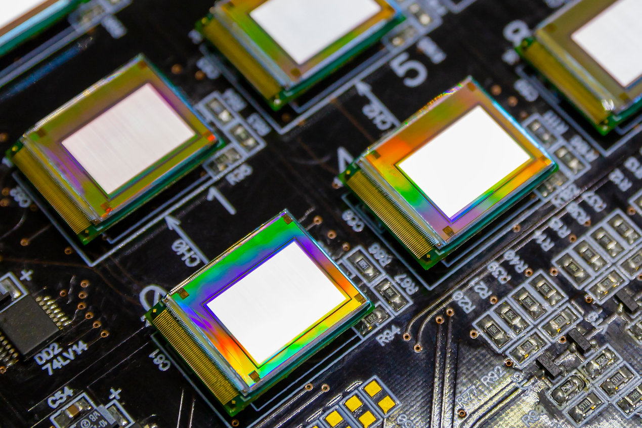 Several microdisplays bright of white co