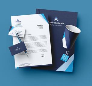 A&A Associés Logo + Carte de visite + Papier à entête